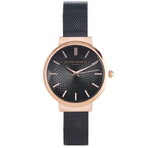 Olivia Burton Women's Hackney Black Mesh Watch - Rose Gold