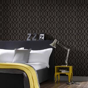 Kelly Hoppen Knightsbridge Flock Noir Wallpaper