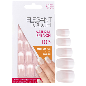 Natural French Nails da Elegant Touch - 103 (M) (Pink) (Ponta em degradé)
