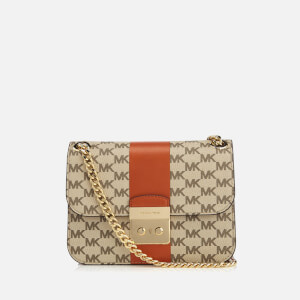 MICHAEL MICHAEL KORS Women's Centre Stripe Sloane Editor Medium Chain Shoulder Bag - Natural/Orange