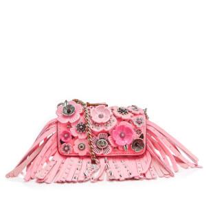 Coach Women's Wild Tea Rose Fringe Dinkier Cross Body Bag - Neon Pink