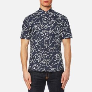 Michael Kors Men's Slim Fit Palm Print Long Sleeve Shirt - Navy