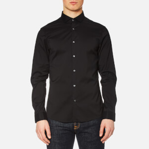 Michael Kors Men's Slim Fit Spread Collar Stretch Nylon Poplin Long Sleeve Shirt - Black