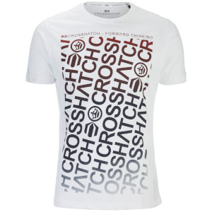 T-Shirt Homme Noremac Faded Logo Crosshatch -Blanc