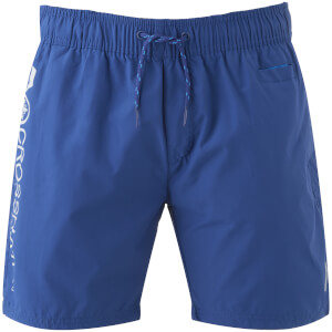 Short de Bain Homme Logo Jennis Crosshatch - Bleu Monaco