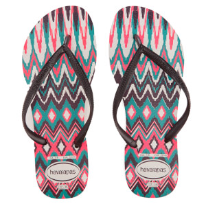 Havaianas Women's Tribal Slim Flip Flops - White/Black/Pink
