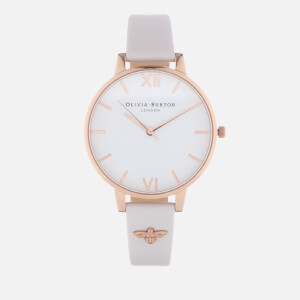 Olivia Burton Women's Embellished Bee Big Dial Watch - White/Rose Gold