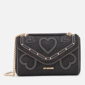 Love Moschino Women's Heart Applique Shoulder Bag - Black