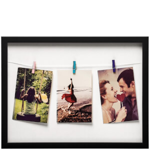 Washing Line 3 Peg Photo Frame - Black