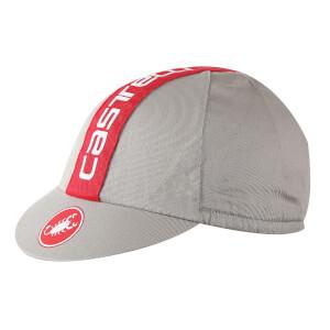 Castelli Retro 3 Cycling Cap - Luna Grey/Red