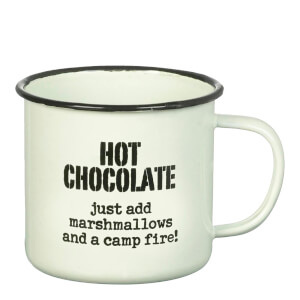 Parlane 'Hot Chocolate' Enamel Mug - White (8 x 9cm)