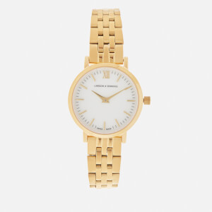 Larsson & Jennings Lugano 26mm 5 Link Watch - Gold/White