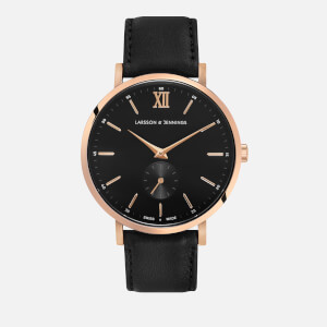 Larsson & Jennings Small Kulor 38mm Leather Watch - Rose Gold/Black