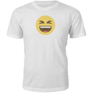 Emoji Unisex Laugh Out Loud Phrase T-Shirt - White