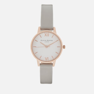 Olivia Burton Women's White Dial Midi Watch - Grey/Rose Gold