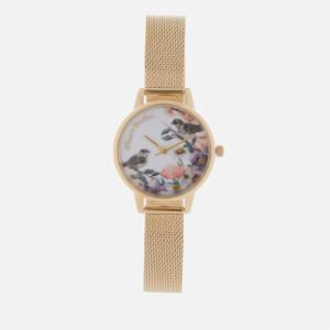 Olivia Burton Women's Flower Show Watch - Gold Mesh
