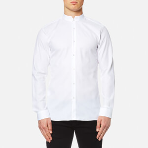 HUGO Men's Elvor Mandarin Collar Shirt - White