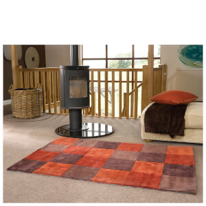 Flair Infinite Inspire Rug - Squared Rust/Chocolate