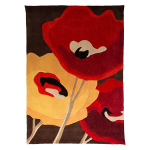Flair Infinite Mod Rug - Art Poppy Flowers Chocolate/Orange