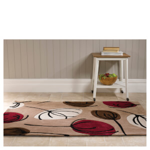 Flair Infinite Inspire Rug - Fifties Floral Choc/Red