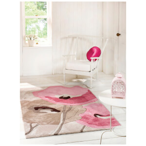 Flair Infinite Mod Rug - Art Poppy Flowers Beige/Pink