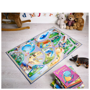Flair Non-Slip Playmat Rug - Zoo Map Multi (75X112)
