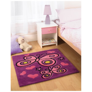 Tapis Flair Kiddy Play Rugs - Papillons Violet (90X90)
