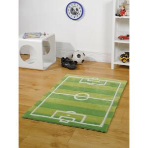Flair Kiddy Play Rug - Football Pitch Green (70X100)