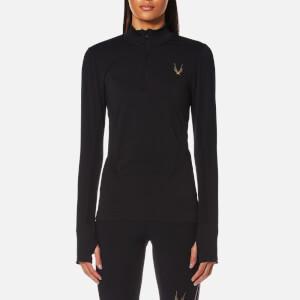 Lucas Hugh Women's Core Technical Knit 1/3 Zip Long Sleeve Top - Black