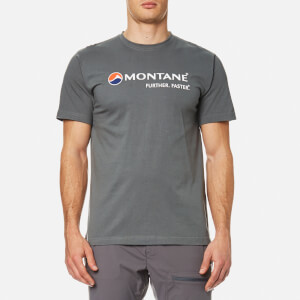 Montane Men's Logo Short Sleeve T-Shirt - Stratus Grey/Inca Gold