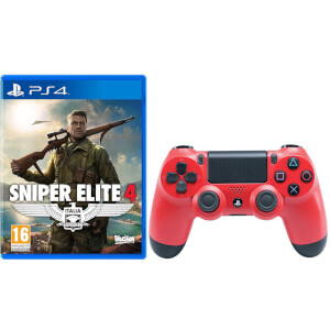 Manette DualShock 4 V2 Sniper Elite 4 avec Sony PlayStation 4 -Rouge