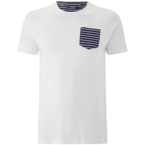 Brave Soul Men's Generate Stripe Pocket T-Shirt - White