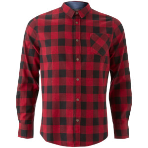 Brave Soul Men's Jack Long Sleeve Check Shirt - Red