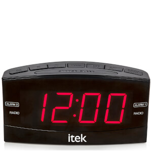 iTek Senior Big Button Jumbo LED Alarm Clock Radio - Black