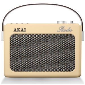 Akai Retro Vintage Portable Wireless AM/FM Radio with LCD Screen - Cream