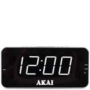 Akai Jumbo AM/FM Alarm Clock Radio with LCD Display - Black