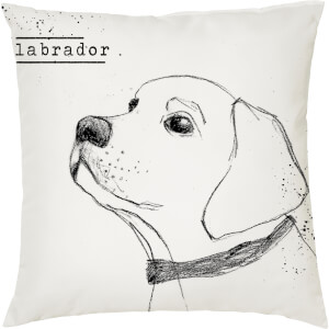 Labrador Cushion - White (45 x 45cm)