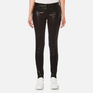 J Brand Women's Skinny Mid Rise Leather Leggings - Noir