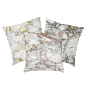 Marble Print Cushion - Gold Marbles