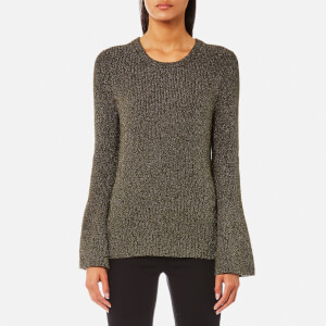 MICHAEL MICHAEL KORS Women's Metallic Bell Sleeve Crew Neck Jumper - Ivy