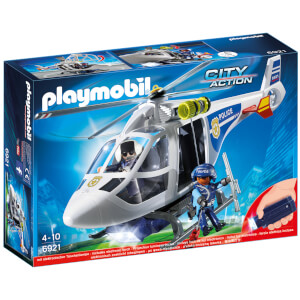 PLAYMOBIL City Action: Helicóptero de policía con luces LED (6921)