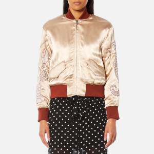 Ganni Women's Leclair Satin Bomber Jacket - Cuban Sand