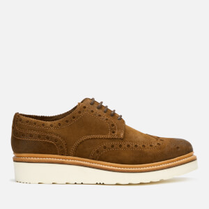 Grenson Men's Archie V Burnished Suede Brogues - Snuff