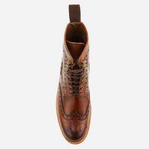 Grenson Men's Fred Hand Painted Leather Commando Sole Lace Up Boots - Tan: Image 3