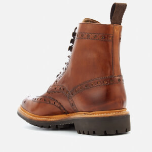 Grenson Men's Fred Hand Painted Leather Commando Sole Lace Up Boots - Tan: Image 4