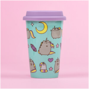 "Pusheen Travel - Keramikbecher mit Silikondeckel ""Einhorn-Motive"""