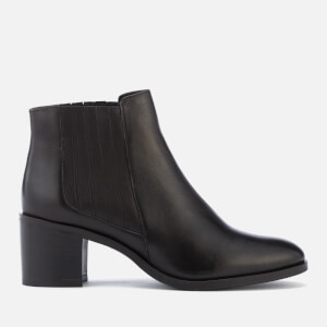 Dune Women's Peter Leather Heeled Ankle Boots - Black