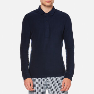 Orlebar Brown Men's Sebastian Towelling Long Sleeve Polo Shirt - Navy
