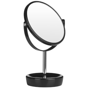 Premier Housewares Swivel Table Mirror with Magnifying Option - Black Plastic/Chrome