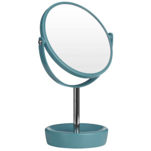 Premier Housewares Swivel Table Mirror with Magnifying Option - Turquoise Plastic/Chrome